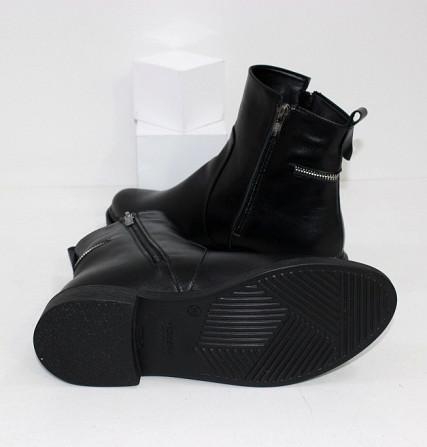 Кожаные зимние ботинки на невысоком каблуке Код: 111764 (507-1-ч/к-мех) Запоріжжя - зображення 2