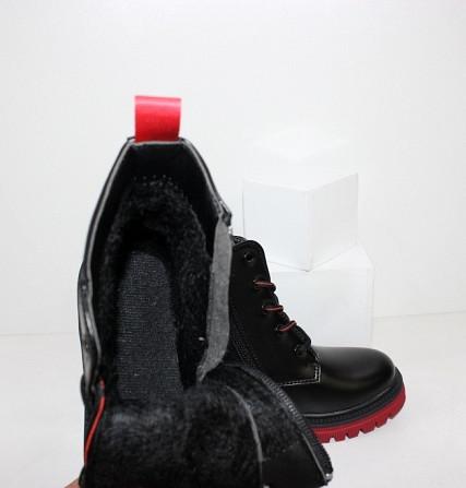 Черные осенние ботинки для девочек на контрастной красной подошве Код: 111827 (YD6027-6-16) Запоріжжя - зображення 5