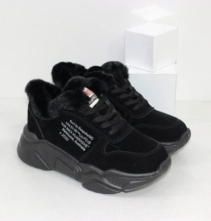 Черные зимние кроссовки с опушкой Код: 111847 (120-23) Запоріжжя - зображення 1