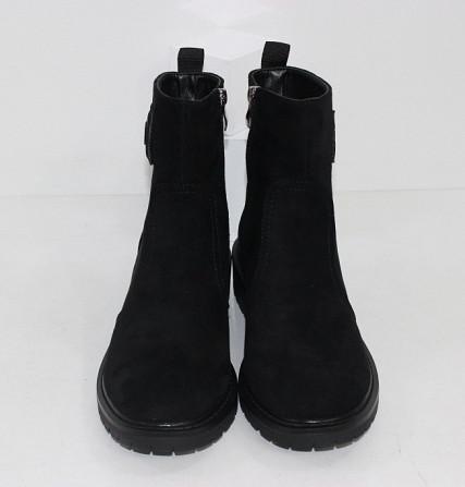 Замшевые черные ботинки на каблучке Код: 111853 (P877-2) Запоріжжя - зображення 5