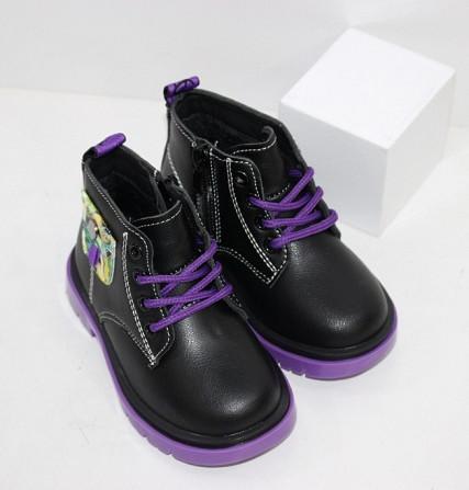 Ботинки осенние для девочек на молнии + шнурок Код: 111824 (C6217-1) Запоріжжя - зображення 5