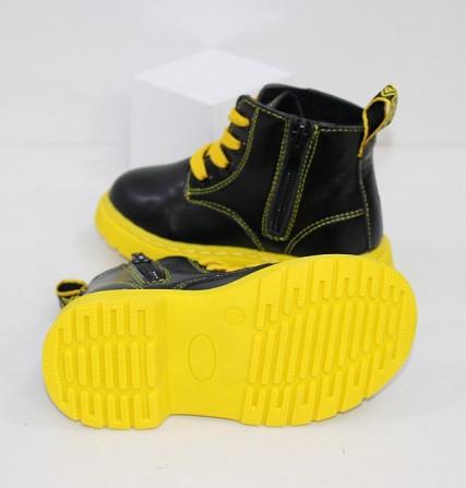 Осенние ботинки для девочек с желтыми шнурками + змейка Код: 111946 (R5865-1) Запоріжжя - зображення 5