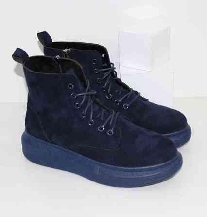 Замшевые синие ботинки на толстой подошве Код: 111779 (512-247) Запоріжжя