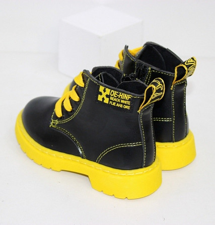 Осенние ботинки для девочек с желтыми шнурками + змейка Код: 111946 (R5865-1) Запоріжжя - зображення 2