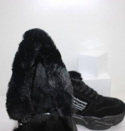 Черные зимние кроссовки с опушкой Код: 111847 (120-23) Запоріжжя - зображення 4