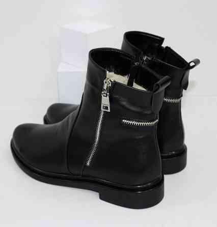 Кожаные зимние ботинки на невысоком каблуке Код: 111764 (507-1-ч/к-мех) Запоріжжя