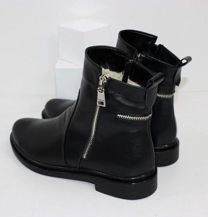 Кожаные зимние ботинки на невысоком каблуке Код: 111764 (507-1-ч/к-мех) Запоріжжя - зображення 3