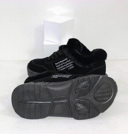 Черные зимние кроссовки с опушкой Код: 111847 (120-23) Запоріжжя - зображення 3