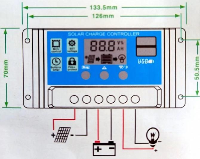 10A PWM (ШИМ) контроллер заряда аккумуляторов от солнечной панели 12/24В с ЖК-дисплеем, 2 USB Дніпро - зображення 3