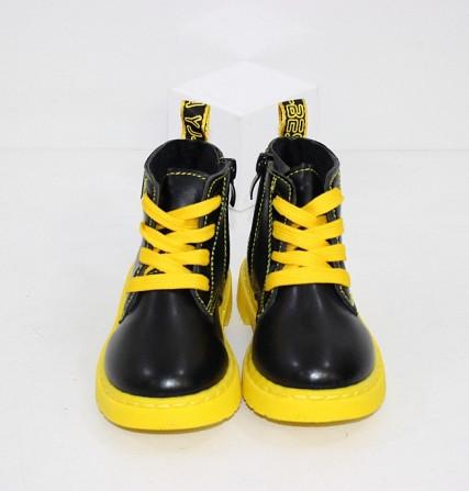 Осенние ботинки для девочек с желтыми шнурками + змейка Код: 111946 (R5865-1) Запоріжжя - зображення 6