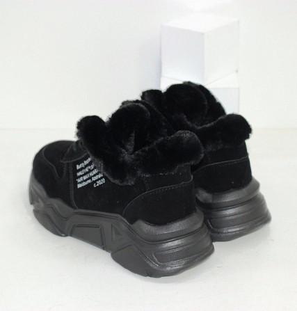 Черные зимние кроссовки с опушкой Код: 111847 (120-23) Запоріжжя - зображення 2
