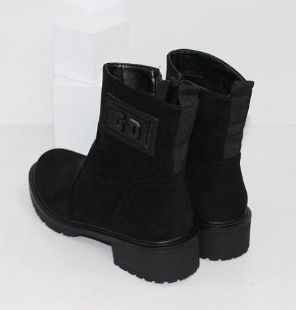 Замшевые черные ботинки на каблучке Код: 111853 (P877-2) Запоріжжя - зображення 2