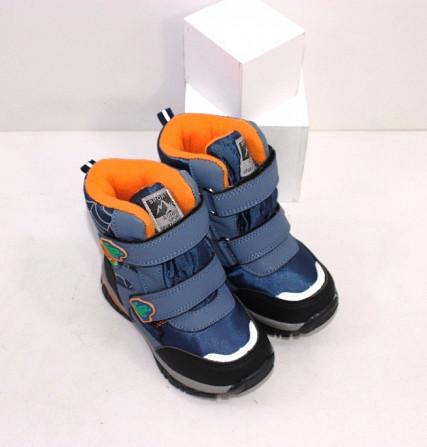 Теплые ботинки для мальчика на нескользкой подошве две липучки Код: 111793 (5724F) Запоріжжя - зображення 3
