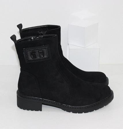 Замшевые черные ботинки на каблучке Код: 111853 (P877-2) Запоріжжя - зображення 3