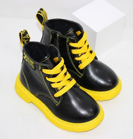 Осенние ботинки для девочек с желтыми шнурками + змейка Код: 111946 (R5865-1) Запоріжжя - зображення 3