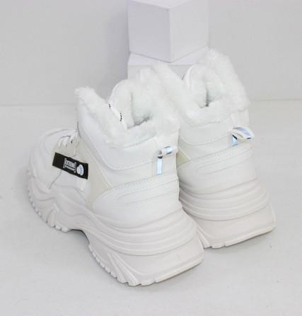 Зимние белые кроссовки теплые Код: 111846 (883-3) Запоріжжя - зображення 3