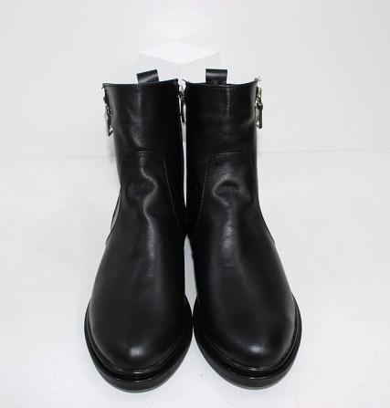 Кожаные зимние ботинки на невысоком каблуке Код: 111764 (507-1-ч/к-мех) Запоріжжя - зображення 6