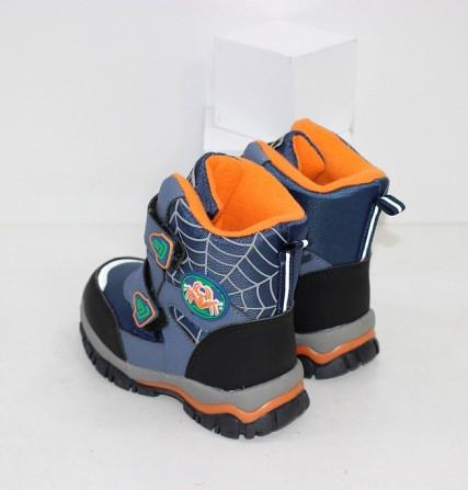 Теплые ботинки для мальчика на нескользкой подошве две липучки Код: 111793 (5724F) Запоріжжя - зображення 2