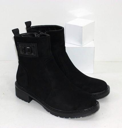 Замшевые черные ботинки на каблучке Код: 111853 (P877-2) Запоріжжя - зображення 1