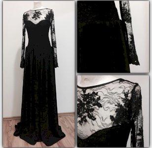 Crna elegantna haljina sa čipkom