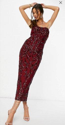 Midi haljina bez naramenica