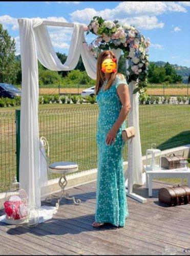 Duga tirkizna haljina veličina 38 dizajner Ivica Skoko