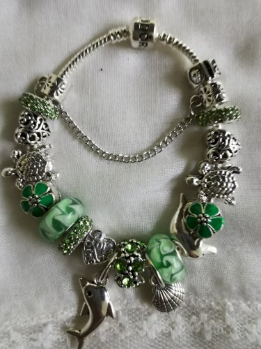 Pandora narukvica zelena dupin nova