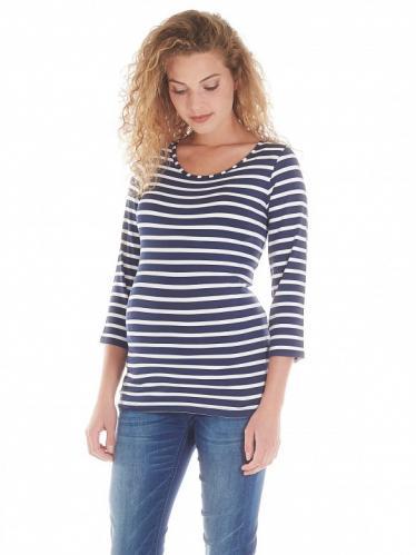 7aa52e2091b8 Queen Mum Striped tehotenské tričko modrobiele