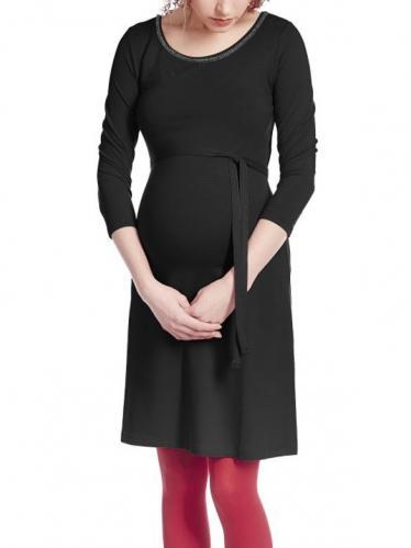 3b6478a0e239 Queen Mum Tehotenské šaty na zimu čierne s kamienkami