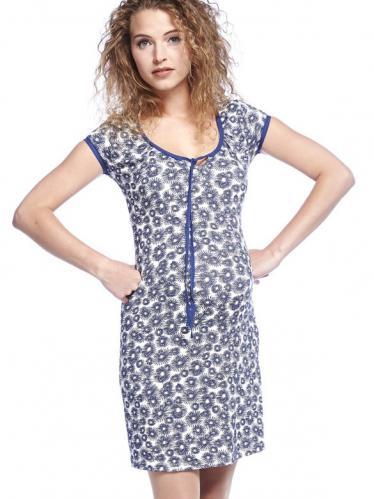 72b98f7de5fe Queen Mum Poppy blue tehotenské šaty na leto