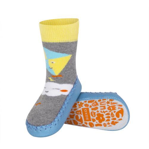 SOXO® Chlapčenské ponožky s podrážkou Mráčik a drak - farebné
