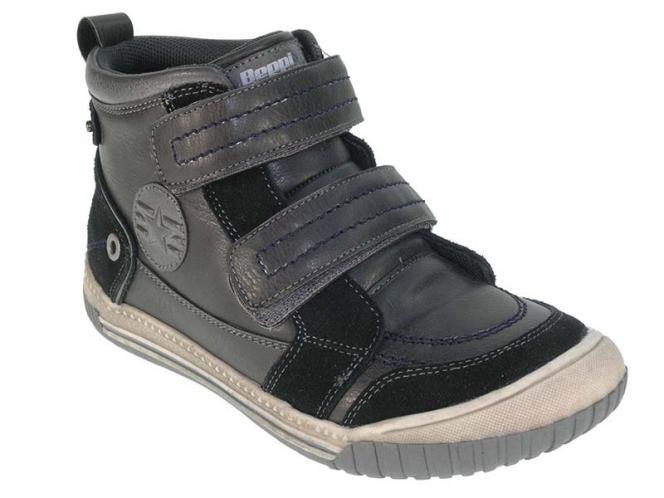 Beppi Chlapčenské členkové topánky - čierno-šedé