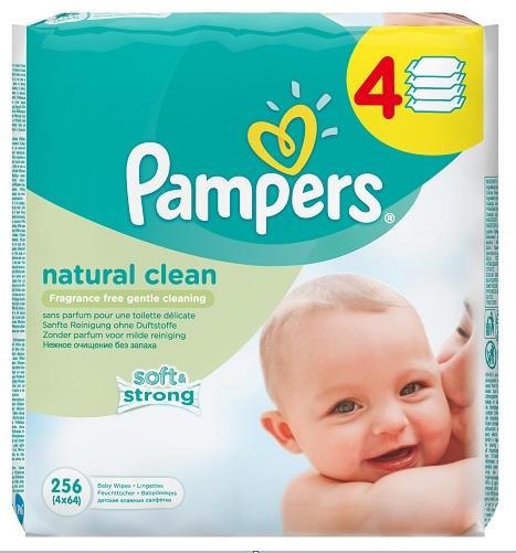 Pampers Ubrusky Natural Clean 4x64 ks