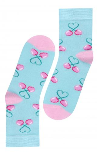 STEVEN Dievčenské ponožky s čerešňami - modroružové
