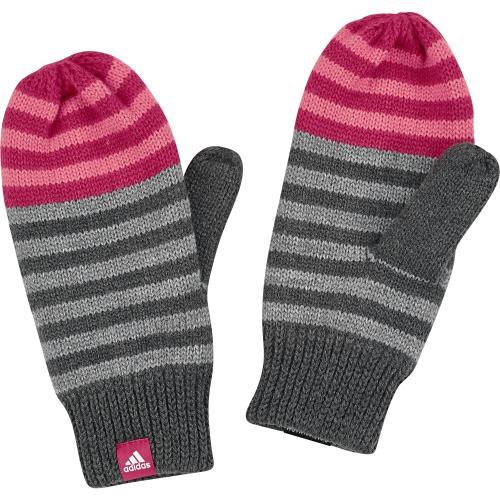 cc6cf1eca adidas Dievčenské pruhované rukavice Stripy - šedo-ružové