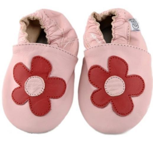 Capiki Dievčenské kožené topánočky Veľká kvetinka- ružové