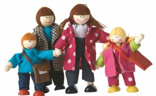WOODY Bábiky do domčeka - rodinka, 4 ks