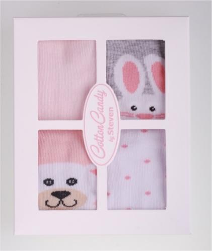 STEVEN Súprava  dievčenských ponožiek so zajačikmi a medvedíkmi 4 páry - ružové a šedé