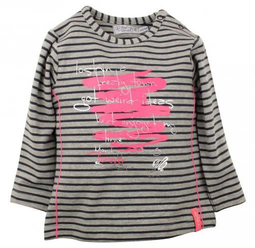 5923d91708720 Dirkje Dievčenské prúžkované tričko s nápisom - farebné