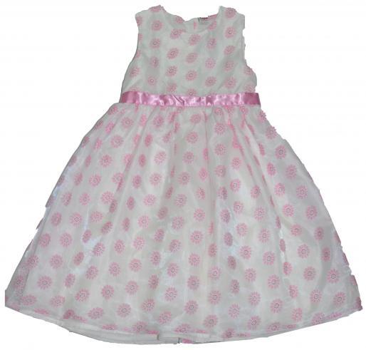 d2d2461ed91b Topo Dievčenské spoločenské šaty s kvietkami - bielo-ružové