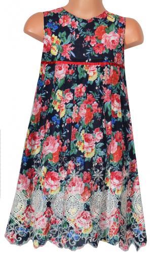 bbb0a3ccb6de Topo Dievčenské kvetované šaty s výšivkou - farebné