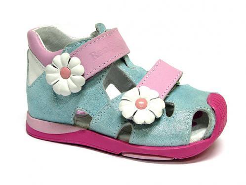 91b2ea230798 Ren But Dievčenské celokožené členkové sandále - tyrkysovo-ružové