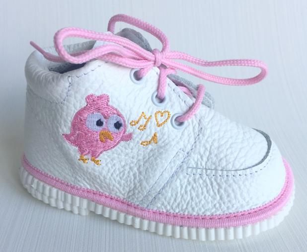 První krůčky Dievčenské kožené topánočky s ružovým vtáčikom - biele