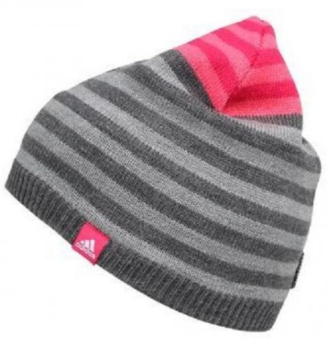 adidas Dievčenská pruhovaná čiapka - šedo-ružová 2afb57e94e6