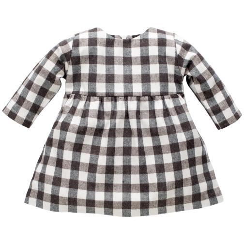 f84d78862bbd Pinokio Dievčenské kockované šaty Magic - šedo-hnedé