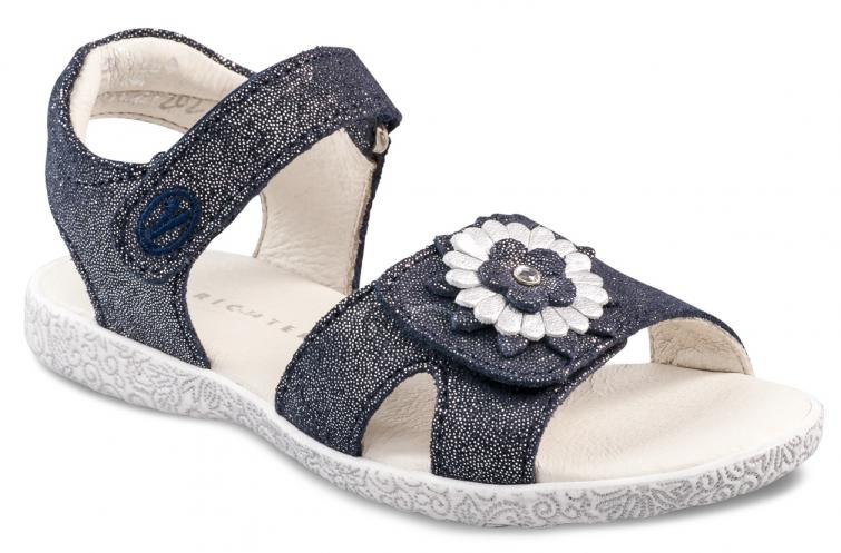 4a439722ba36 Richter Dievčenské trblietavé sandále s kytičkou - tmavo modré