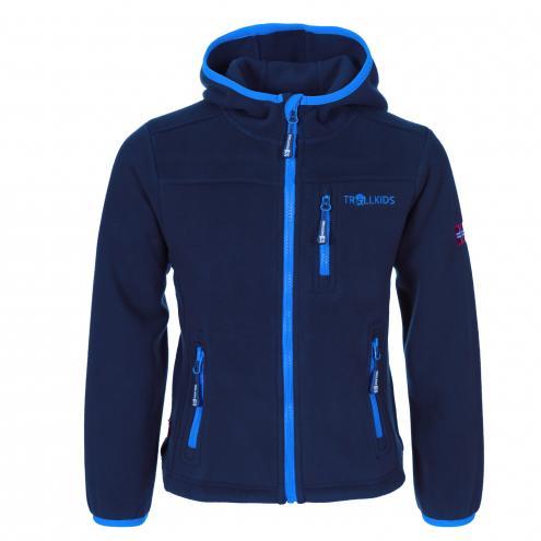 Trollkids Detská fleecová bunda s kapucňou - modrá
