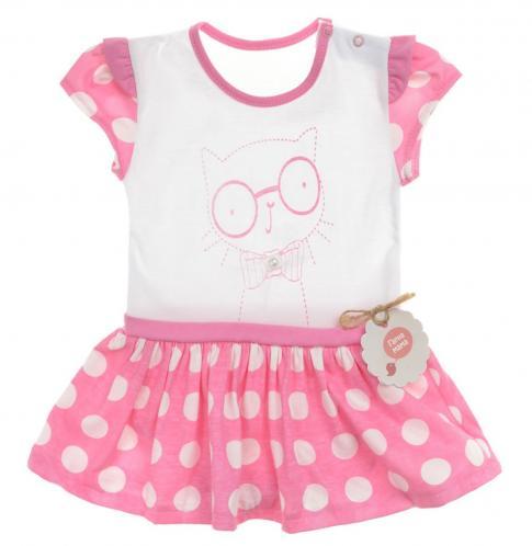 Garnamama Dievčenské bodkované šaty s mačičkou - ružovo-biele 1b0cbe984a9