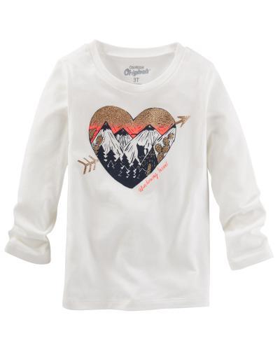 e0a184461acb Oshkosh Dievčenské tričko so srdiečkom a horami - biele