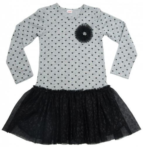 9473801a5cbd Topo Dievčenské bodkované šaty - šedo-čierne